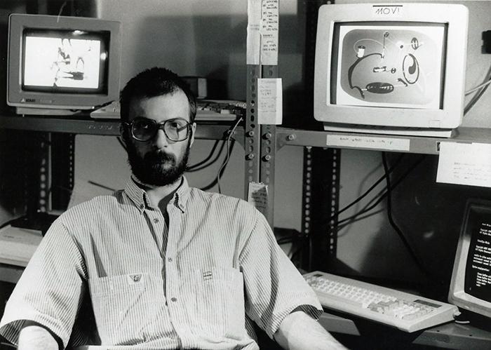 Waliczky Tamás a Novotrade Stúdióban, 1989. Forrás: Waliczky Tamás
